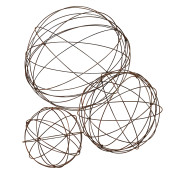 Assorted Sized Wire Garden Spheres Set Of 3