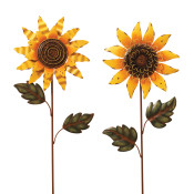 Assorted Style Metal Sunflower Yard Stakes Set Of 2