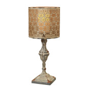 High Pedestal Candle Holder With Lamp Shade 19.5-inch