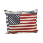 Long Jacquard Patriotic Flag Throw Pillow 24-inch