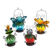 Assorted Metal And Glass Solar Garden Critter Lanterns High 13-inch