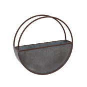 Diameter Galvanized Metal Circular Wall Planter, Silver 18-inch