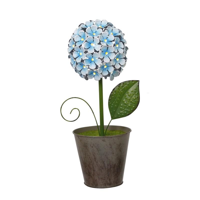 B/o Metal Blue Flower 16.3inh