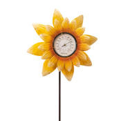 High Metal Sunflower Thermometer Yard Stake 63-inch