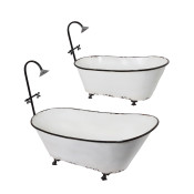 Metal Assorted Sized Bathtub Planters Set Of 2