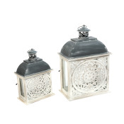 Metal And Wood Nesting Lanterns With Floral Cut-out Set Of 2
