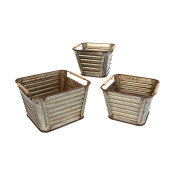 Metal Containers With Handles, Silver Set Of 3
