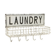 Long Metal Laundry Hanging Wall Decor, White 20.4-Inch