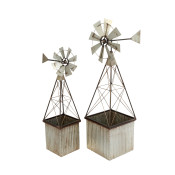 Assorted Metal Windmill Spinner Planters, Silver Set Of 2
