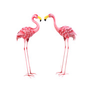High Metal Flamingo Figurines Pink 36-inch Set Of 2