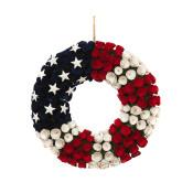 Diameter Wood Flower Patriotic Wreath 21.5-inch Long