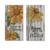 Assorted Style Wood Sunflower Wall Art Set Of 2