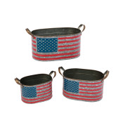 Nesting Metal Patriotic Flag Containers Set Of 3