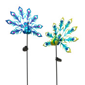 Assorted Metal And Glass Solar Peacock Yard Stakes Set Of 2