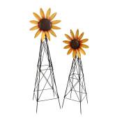Assorted Metal Spinner Sunflower Windmills Set Of 2