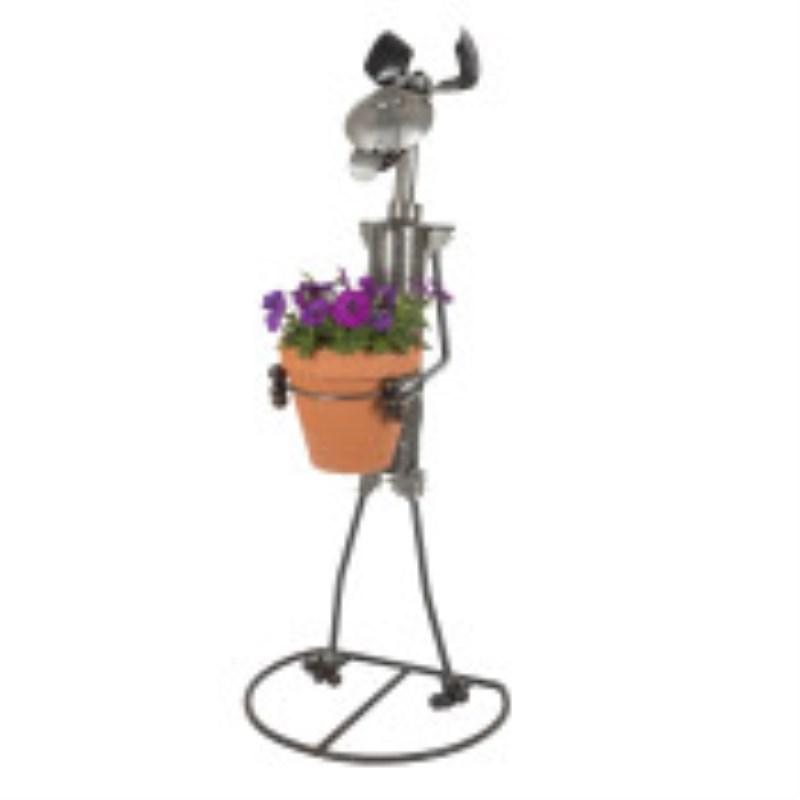Dog Metal Sculpture Darryl holds 8 Planter Pots H