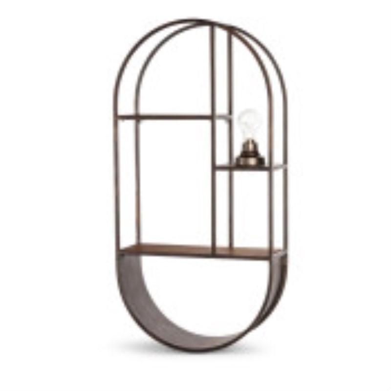Wall Shelf Oval Shape Made Of Wood And Metal 31.50 H�