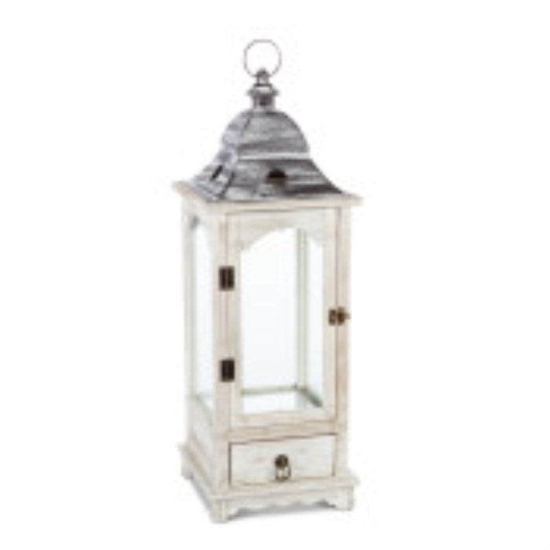 Wood Lantern For Led Candle, White Washed Finish With Metal Top 27h