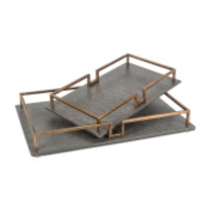 Wood And Metal Tray With Antique Black Base And Gold Detailed Rails Set Of 2