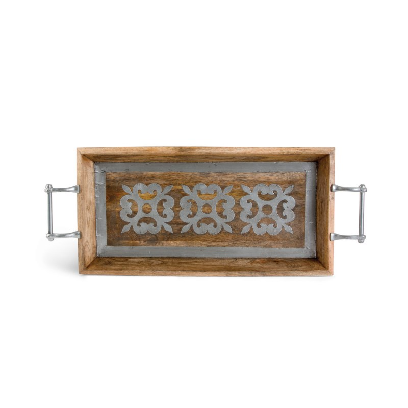Wood Tray With Metal 30