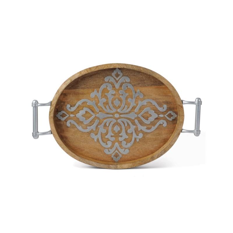 Wood/metal Oval Tray 20.75l