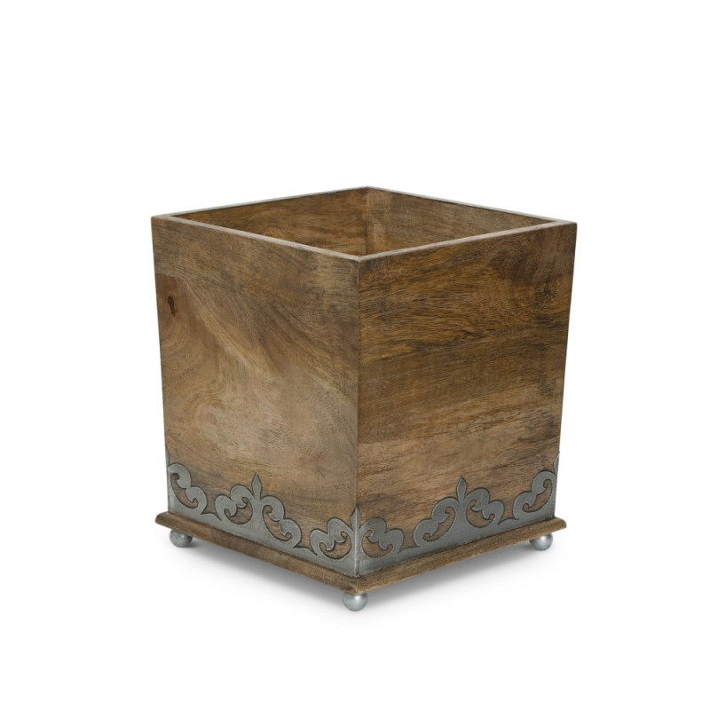 Wood And Metal Wastebasket
