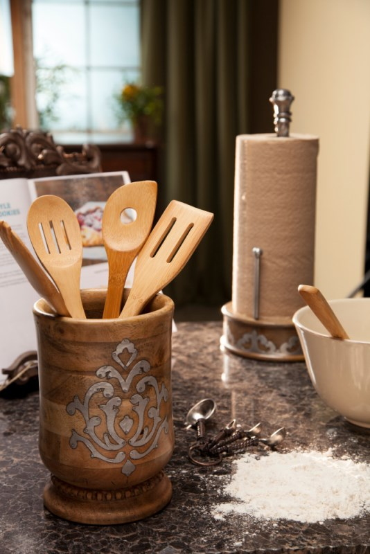 Wood And Metal Utensil Holder