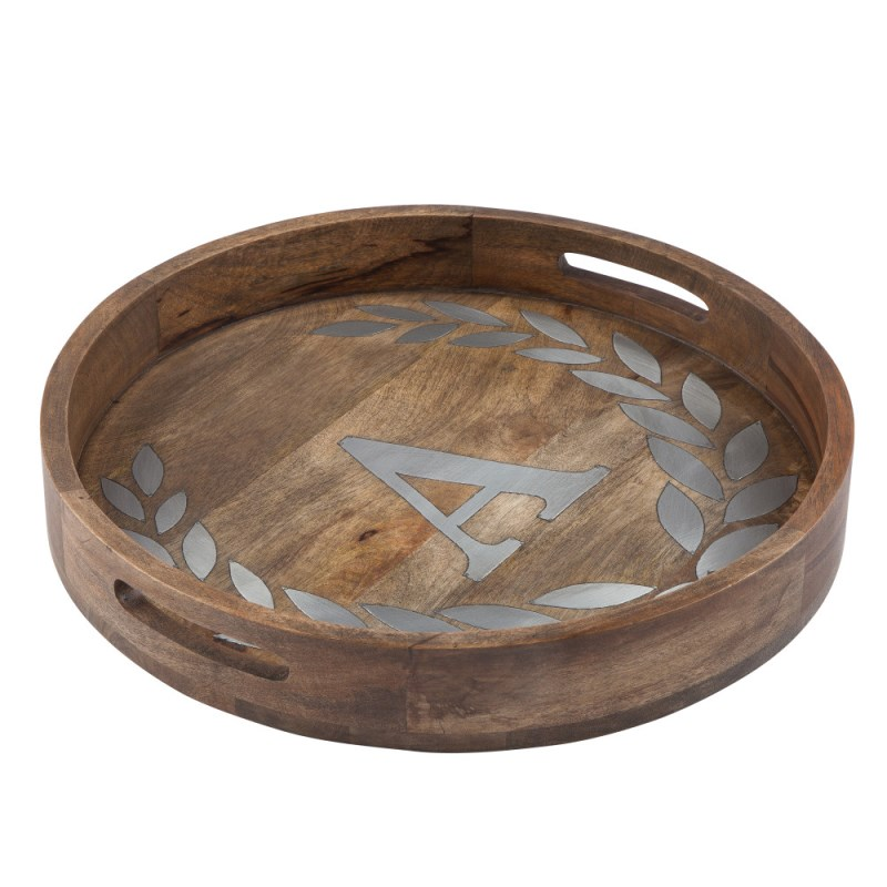 Wood/metal 20 Round Tray A