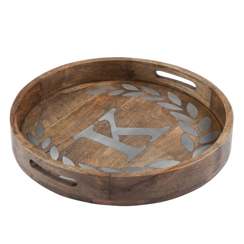 Wood/metal 20 Round Tray K