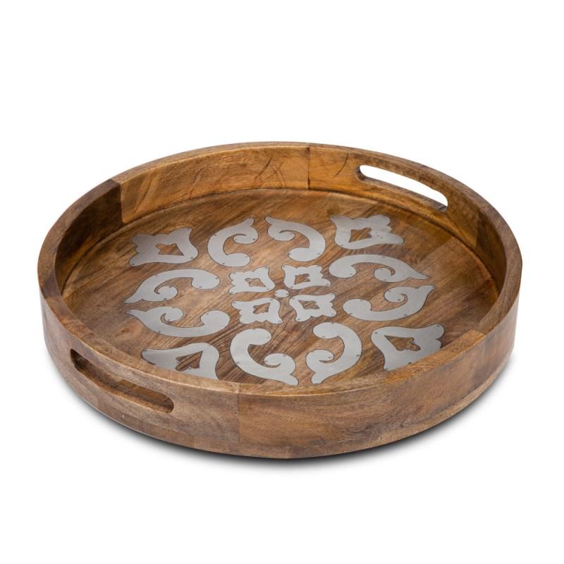 Wood/metal 20 Round Tray