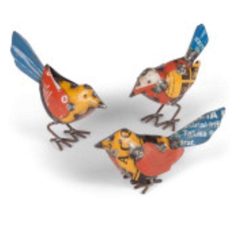 Metal Bird Figurines Set Of 3