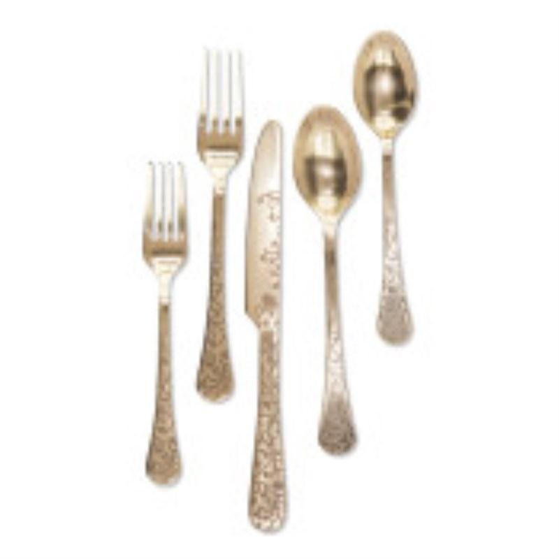 Golden Floral Flatware 5pc Set Of 4