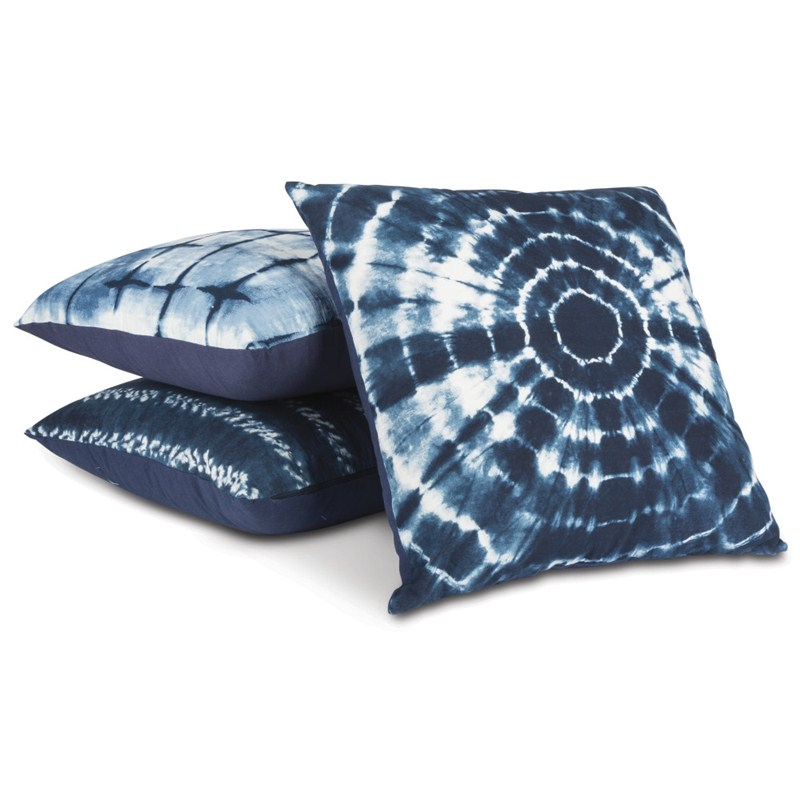 Assorted Indigo Ink Pillows Set of 3