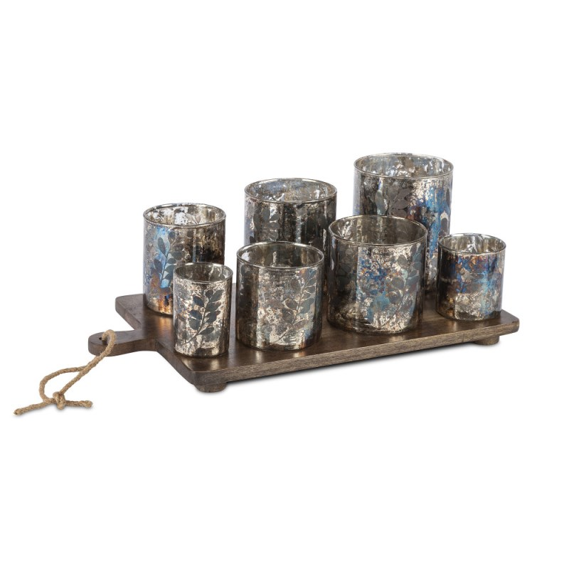 Candle Cups On Wood Tray 7