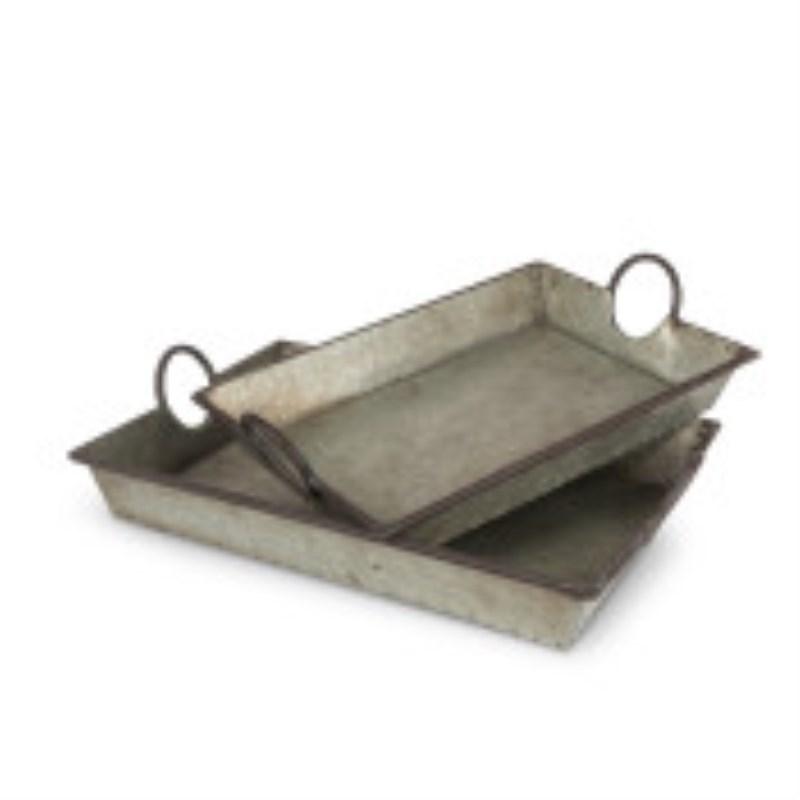 Metal Round Handle Trays Set Of 2
