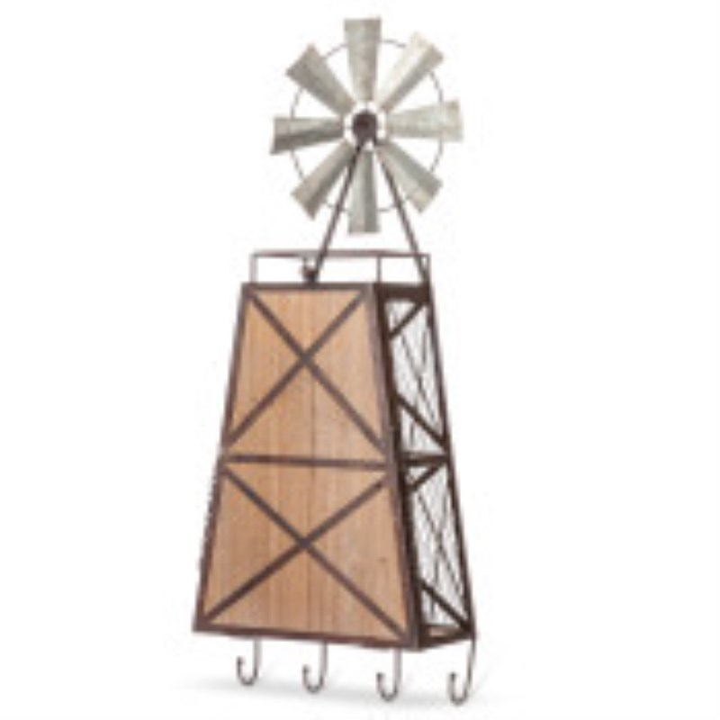 Windmill Beverage Bar Wood & Metal With Drop Down Bar & Hanging Drinkware Holder