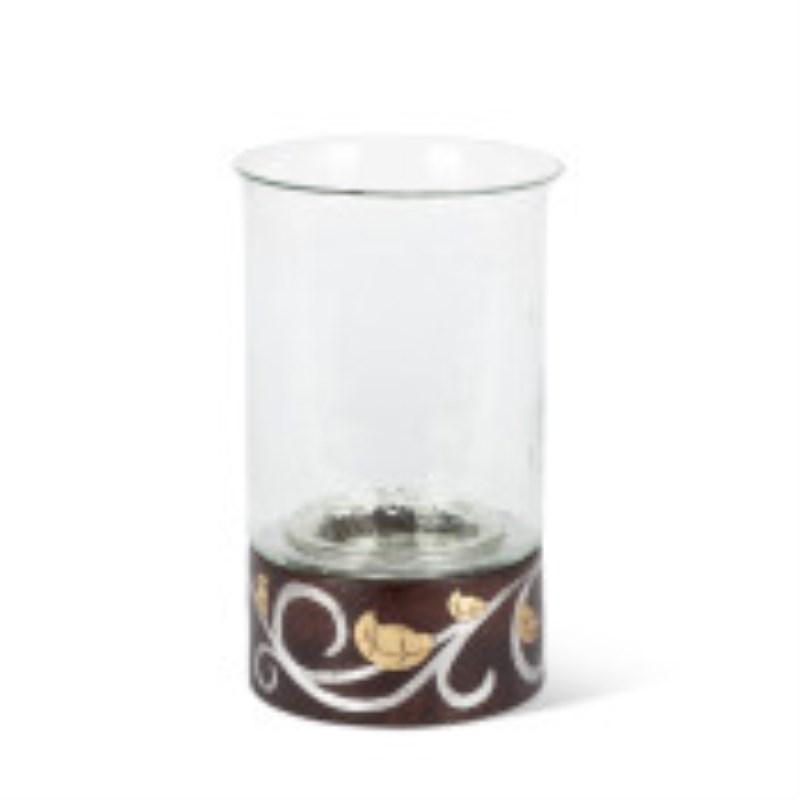 Gl Mango Wood Inlay Candle Holder 12h