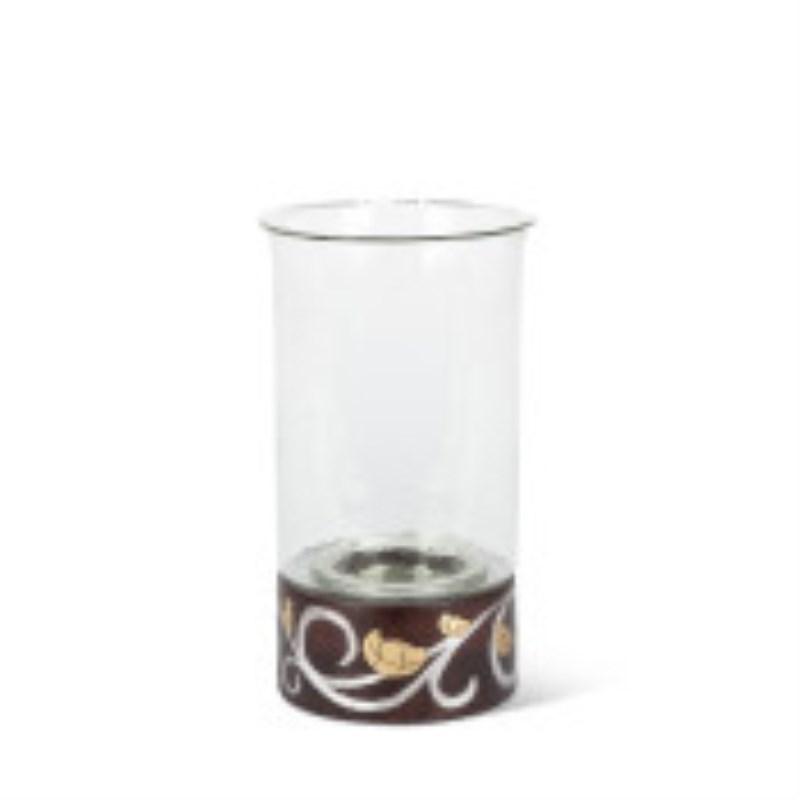 Gl Mango Wood Inlay Candle Holder 13.5h