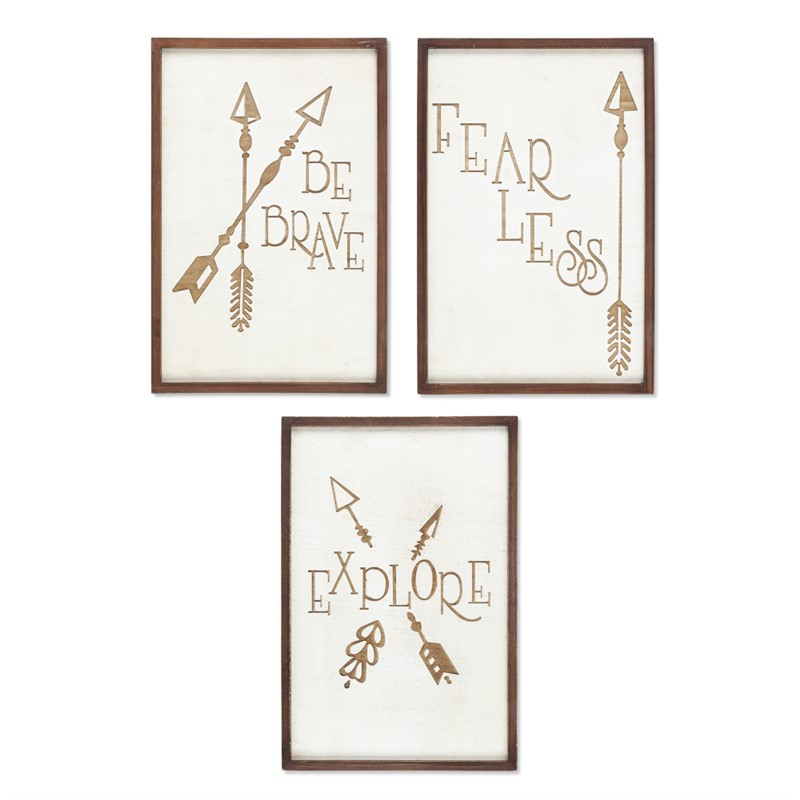 Set of Three Laser Engraved Wooden Inspirational Wall Decor
