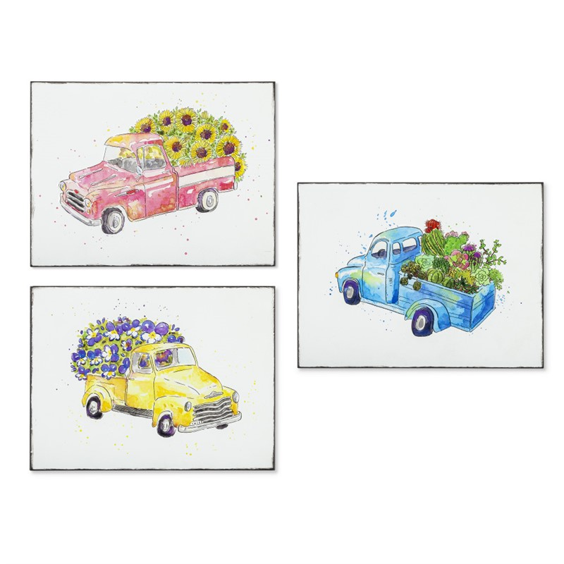 Set of 3 Assorted Metal Embossed Truck Wall Decor