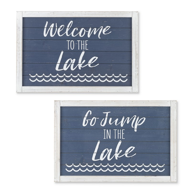 Set of 2 23.63-inch Long Wooden Lake Themed Signs