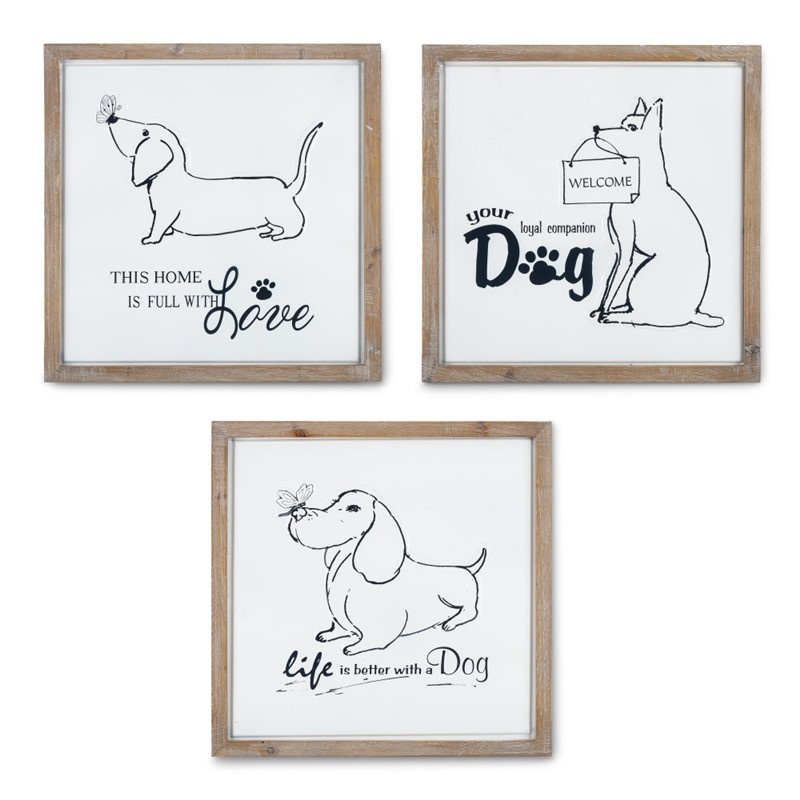 Set of 3 Wood Framed Metal Dog Decor