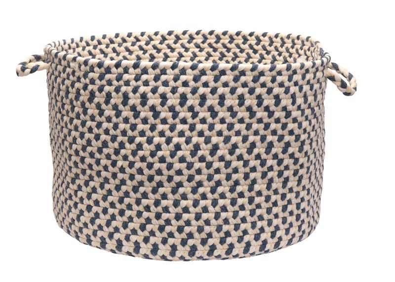 Elmwood Basket Braided Blue Area Rugs