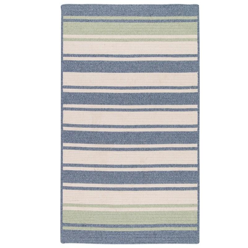 Frazada Stripe Braided Blue Area Rugs