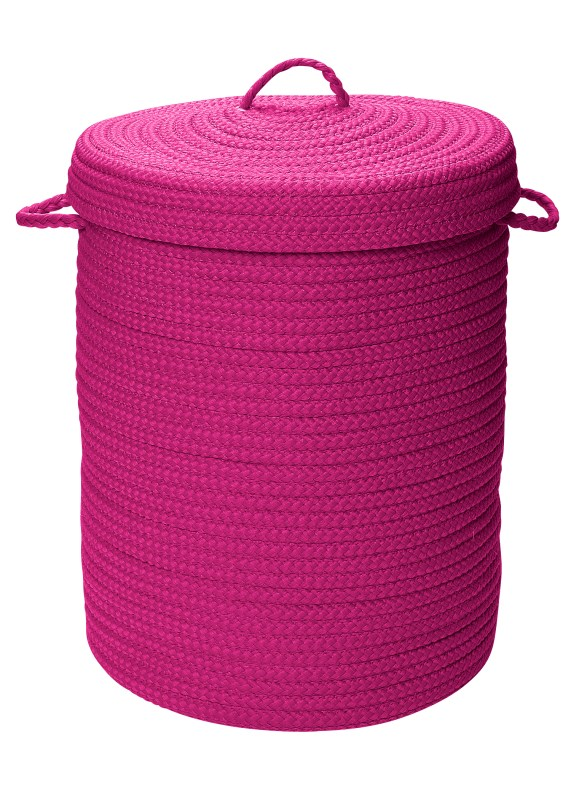 Simply Home Solid Hamper W/ Lid  Braided Pink Area Rugs