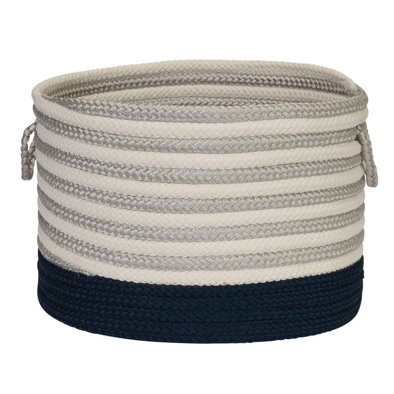 Chloe Stripe Basket Braided Blue Area Rugs