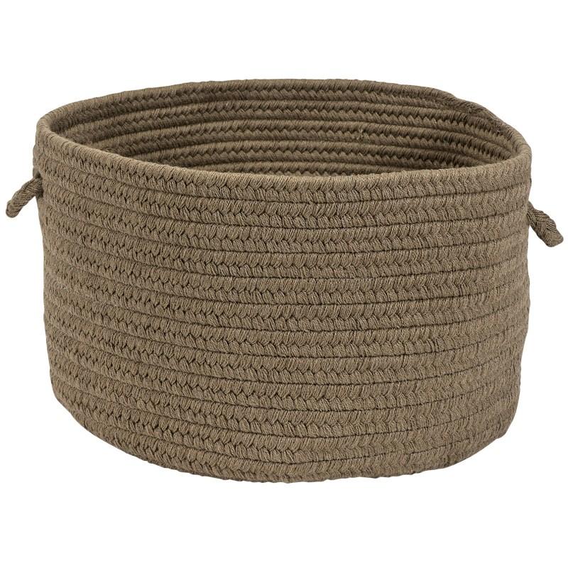 Sunbrella Solid Basket Braided Beige Area Rugs