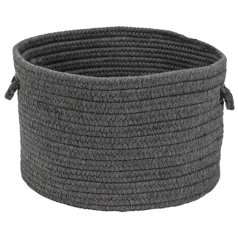 Sunbrella Solid Basket Braided Gray Area Rugs