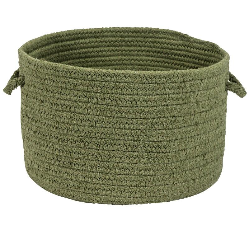 Sunbrella Solid Basket Braided Green Area Rugs