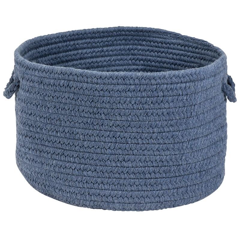 Sunbrella Solid Basket Braided Blue Area Rugs